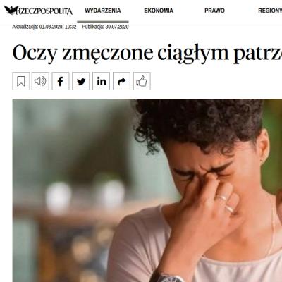 """""""Coraz częściej dochodzi do zespołu suchego oka."""" Dr Ambroziak w wywiadzie dla Rzeczpospolitej."""