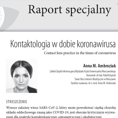 """W najnowszym kwartalniku specjalistycznym """"OphthaTherapy. Terapie w Okulistyce"""" praca dr n. med. Anny Marii Ambroziak o kontaktologii w dobie koronawirusa."""